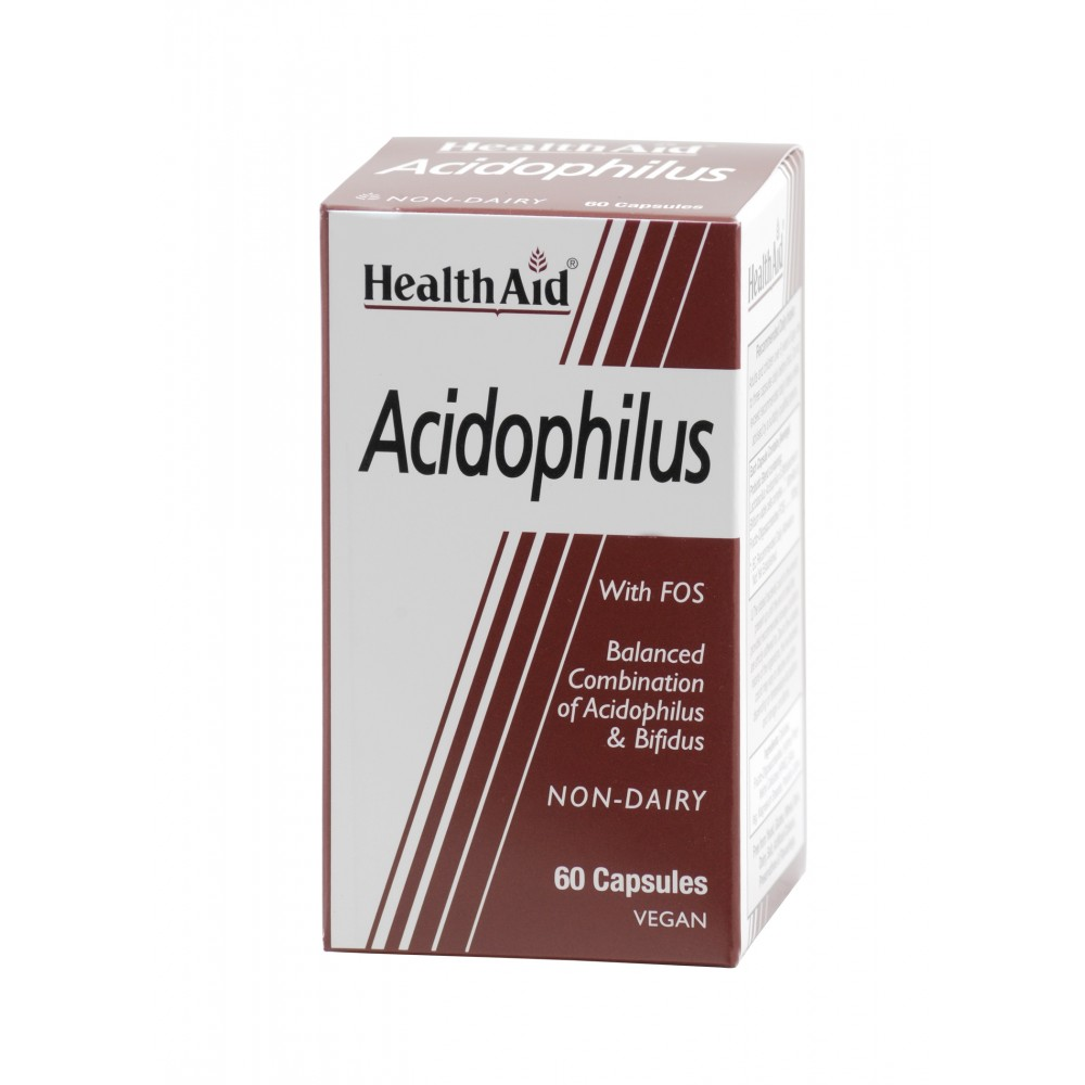 Health aid - Acidophilus  Προβιοτικά 100εκατ. με Πρεβιοτικά  (FOS) 60caps