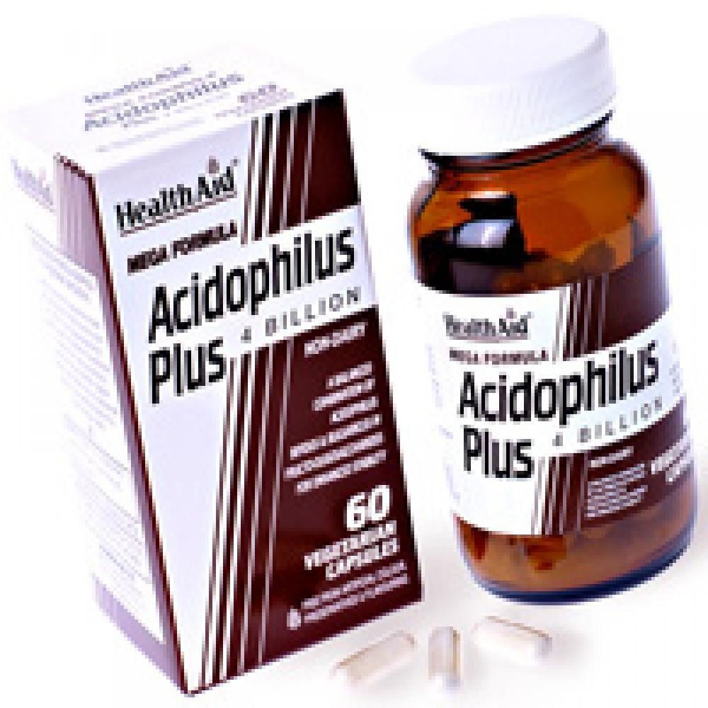 Health aid - Acidophilus Plus  Προβιοτικά 4δις με Πρεβιοτικά (FOS) 60caps