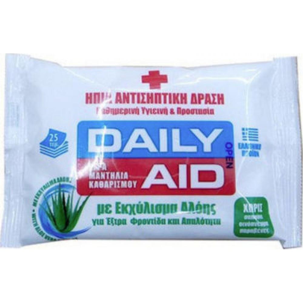 MEKE - Daily Aid Aloe Αντισηπτικά Υγρά Μαντηλάκια 25τμχ.