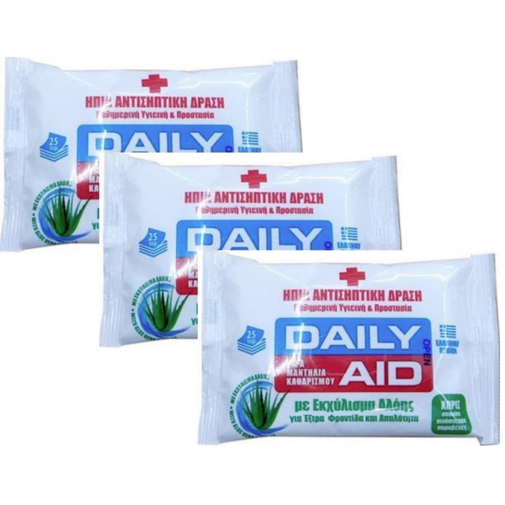 MEKE - Daily Aid Aloe Αντισηπτικά Υγρά Μαντηλάκια 25τμχ. x3 ΣΥΣΚΕΥΑΣΙΕΣ